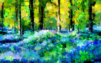 Blue Bells In The Forest - Abstract
